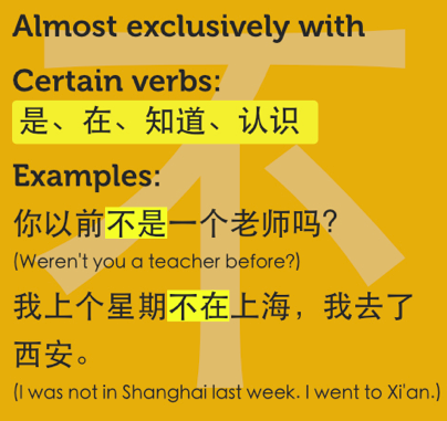 Almost exclusively with certain verbs: 是、在、知道、认识