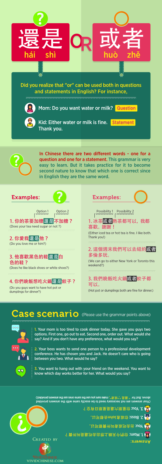 还是 haishi and 或者 huozhe Traditional Chinese Version Infographic