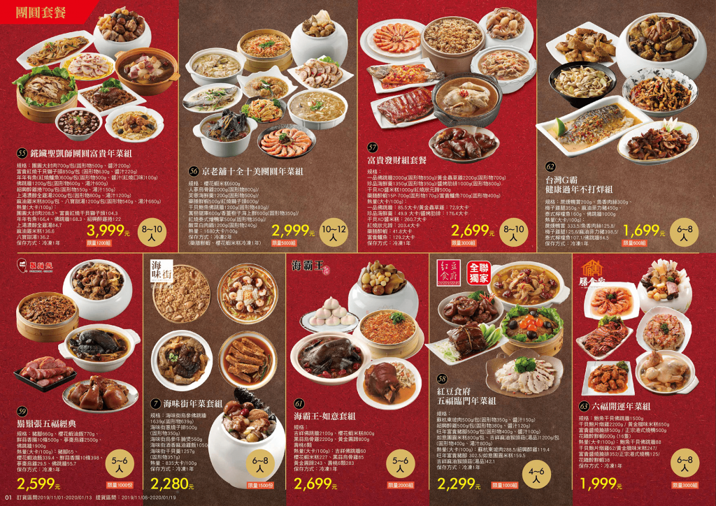 Chinese New Year dishes menu