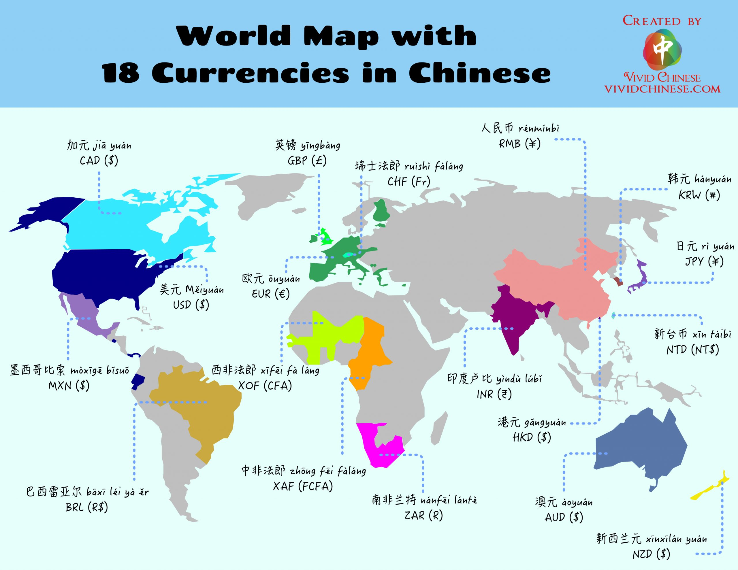 Here is a list of 15 currencies in Chinese and where they are used around the world