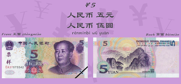 RMB ¥5 money in Chinese
